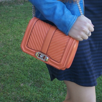 navy stripe tee dress with Rebecca Minkoff chevron quilted small Love crossbody bag in pale coral   awayfromtheblue