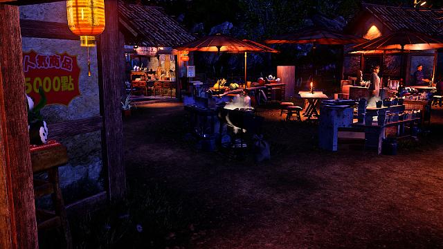 A view of Panda Market at night