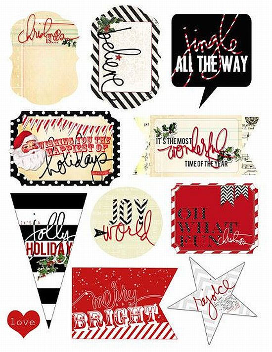 modern and striped pretty black and white with red printable Christmas gift tags for free