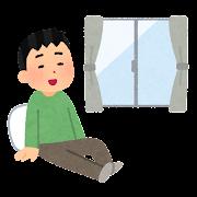 室内でリラックスする人のイラスト(男性)