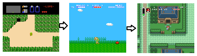 The Legend of Zelda NES Adventures of Link A Link to the Past screenshots comparsion
