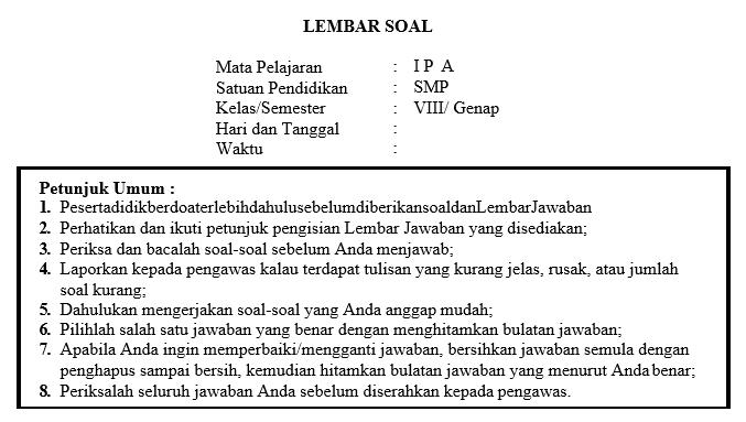 Soal Dan Kunci Jawaban Pat Ipa Smp Kelas 8 Kurikulum 2013 Tahun