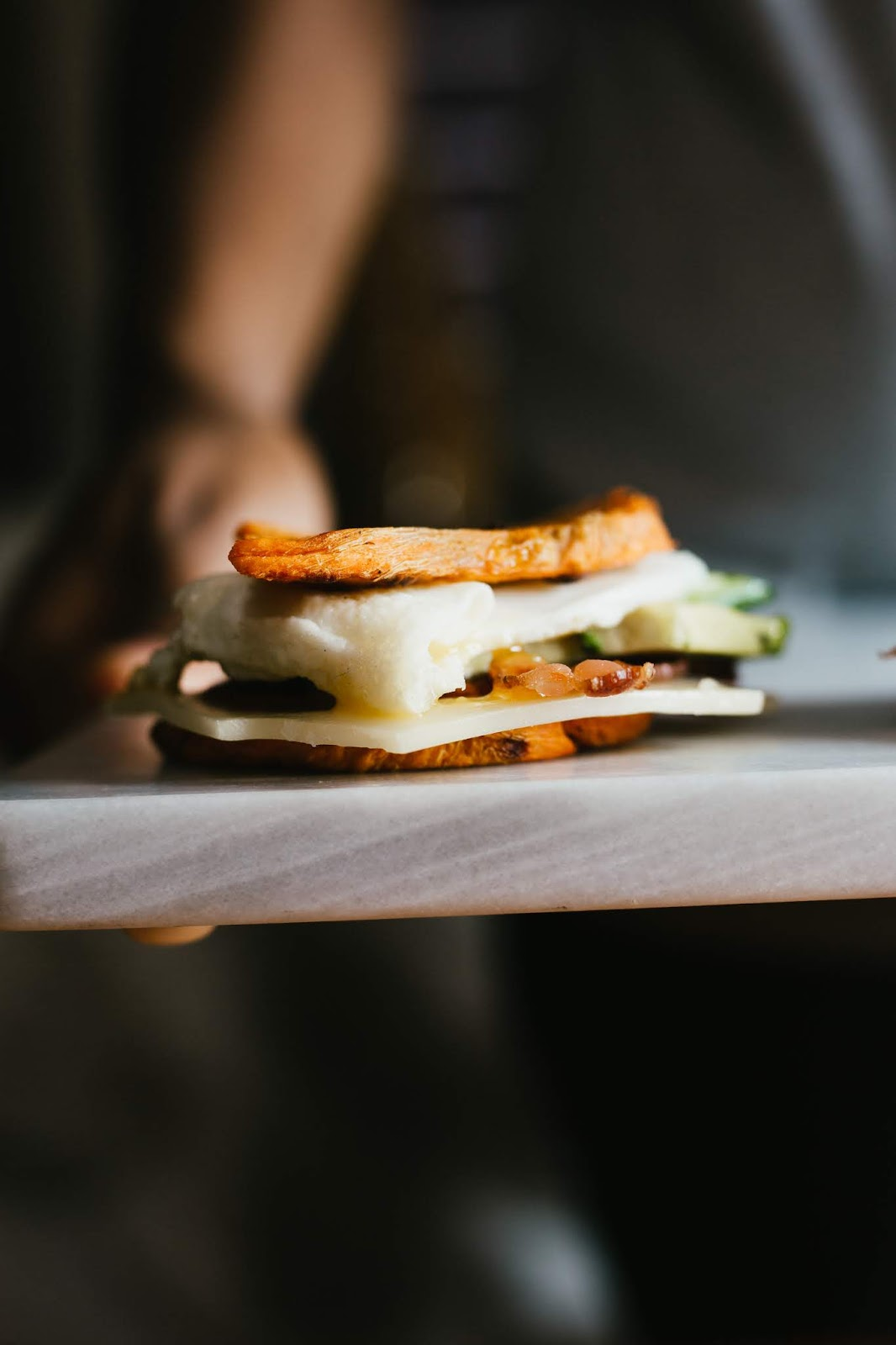 Avocado, Bacon, Egg Sweet Potato Toast Breakfast Sandwich