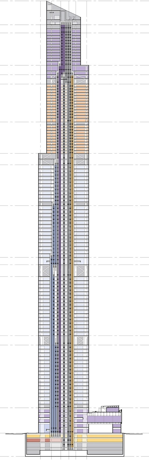 Diagram of The Chow Tai Fook skyscraper showing floors and elevators through the building