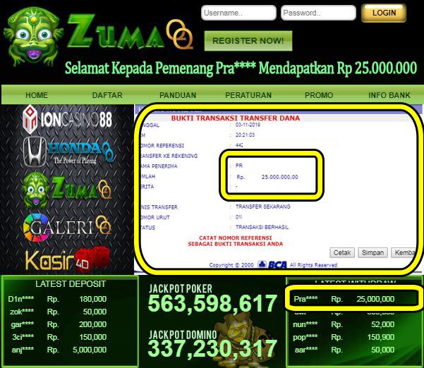 Selamat Kepada Pemenang Member Setia ZumaQQ Periode 3 November 2019