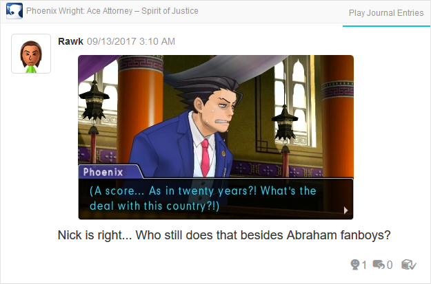 Phoenix Wright Ace Attorney Spirit of Justice Abraham Lincoln score