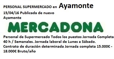 Lanzadera de Empleo Virtual Huelva, Oferta Mercadona Ayamonte