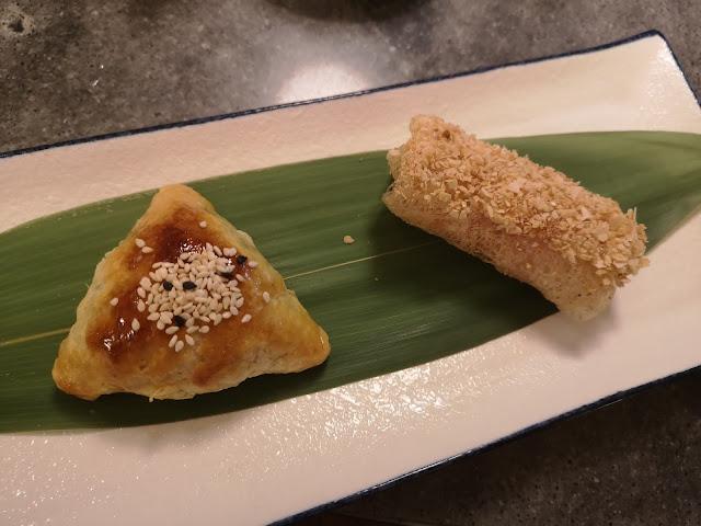 蜜汁叉烧酥 + 荔枝虾春卷