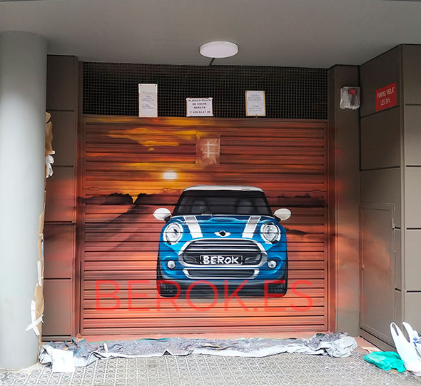 graffiti coche parking