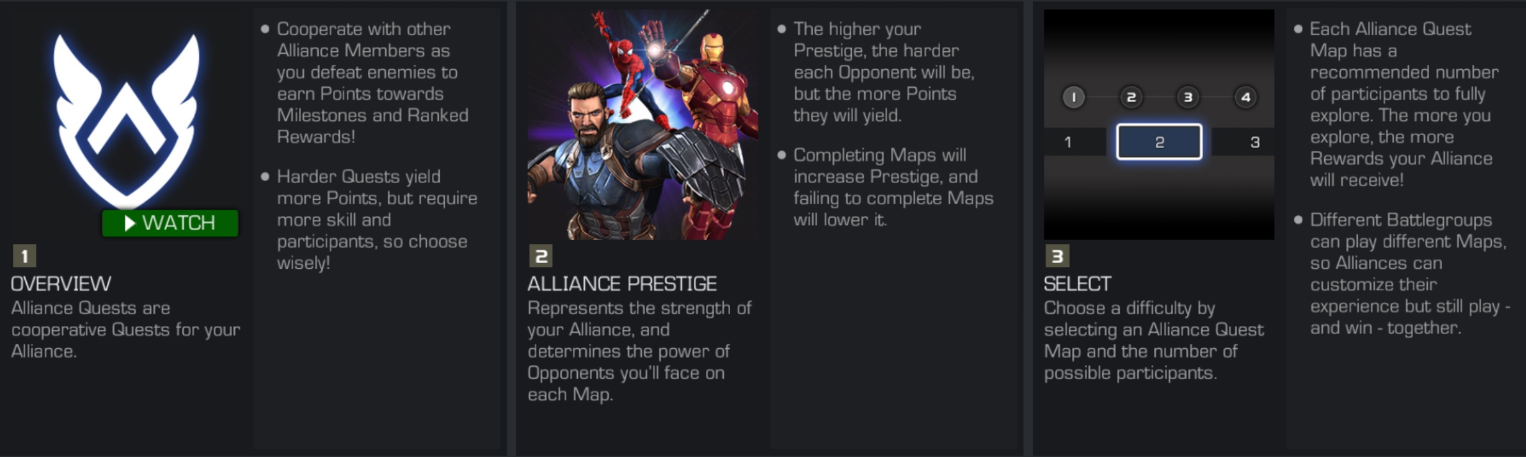 MCOC AQ Overview, Alliance Prestige and Map Selection