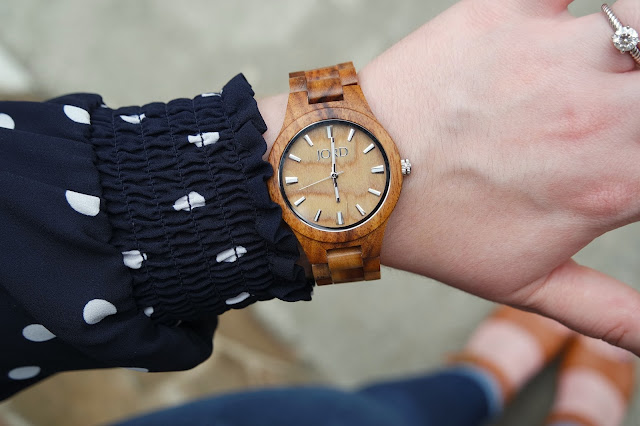 Sequins and Skulls: Navy Polka Dots & My New JORD Watch
