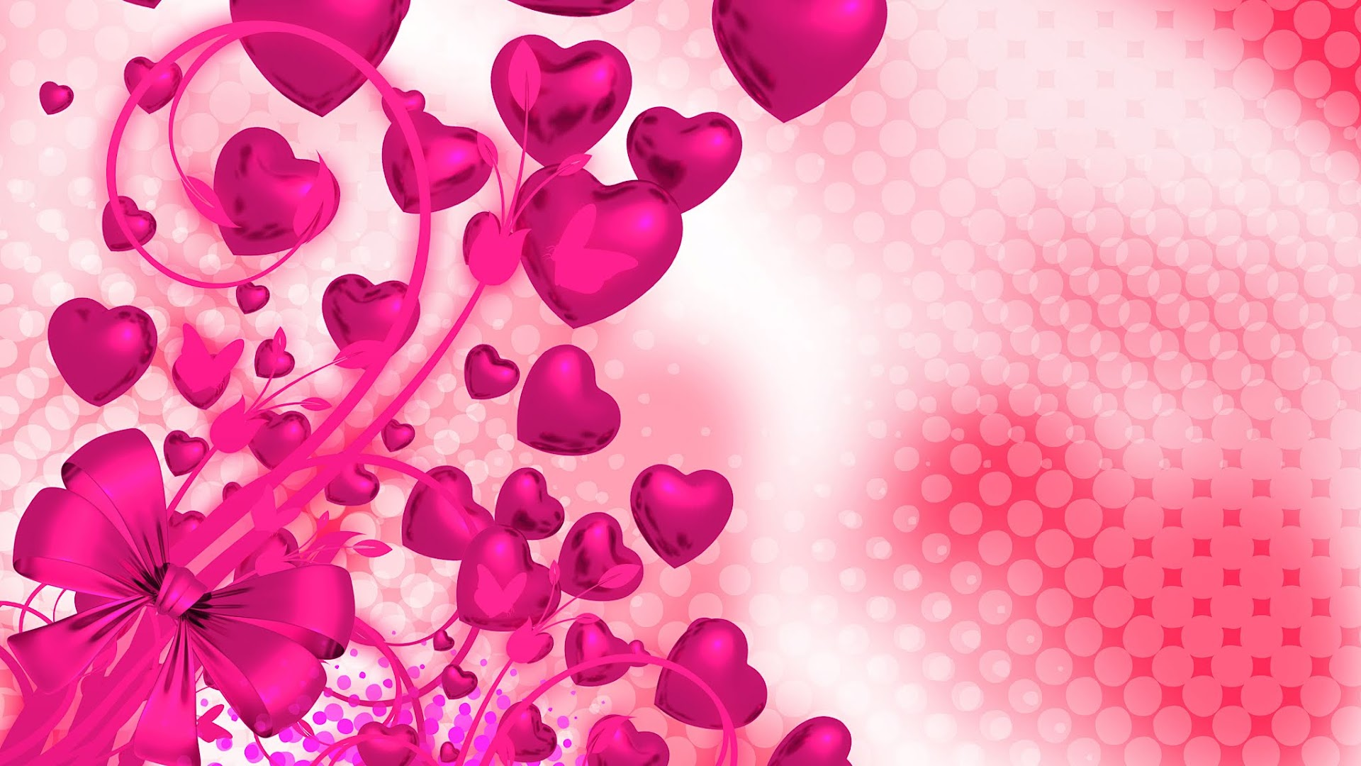 Magenta Themed Background with hearts and floral tied in a bow