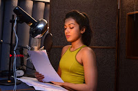 Actress Catherine Tresa Pos during Self Dubbing for Gautham Nanda Movie  0027.JPG