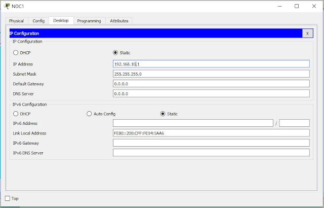 Setting IP PC NOC1