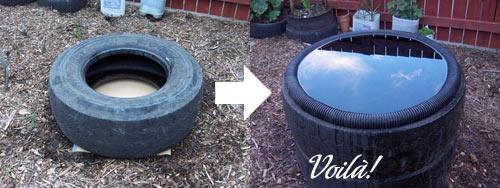 Reciclagem lago de pneus for Como construir un lago artificial