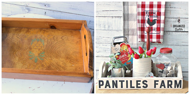 Farmhouse Style Tray Makeover with Slats and Redesign with Prima Transfers