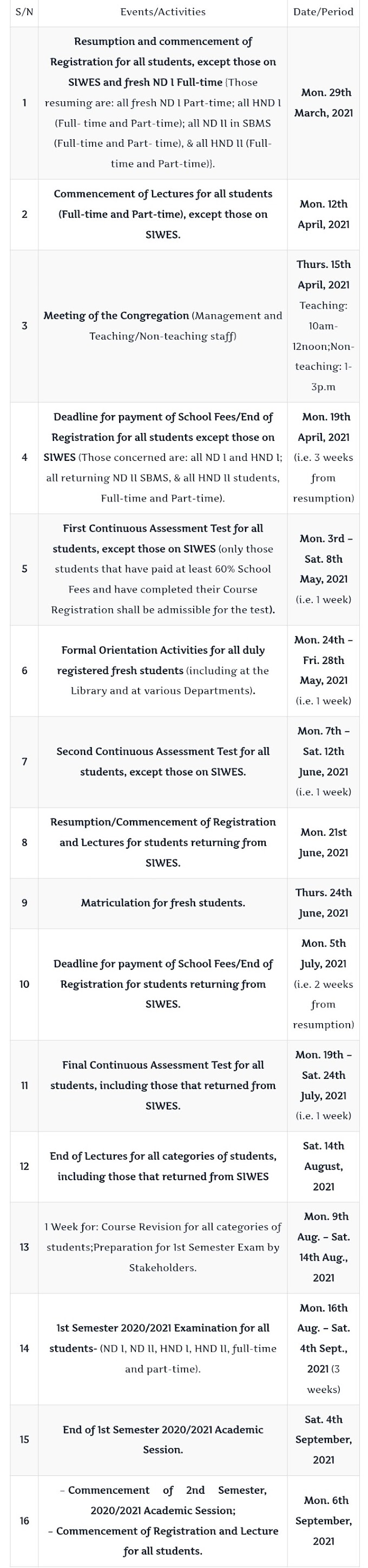 MAPOLY Academic Calendar for 2020/2021 Session is Out