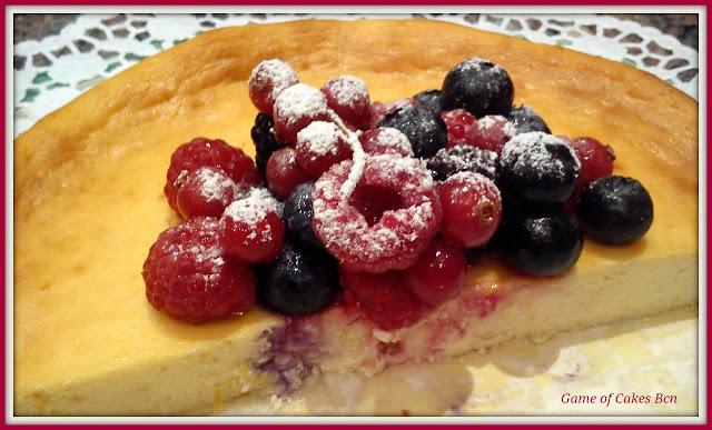 Foto del corte del Pastel de queso ricotta y mascarpone
