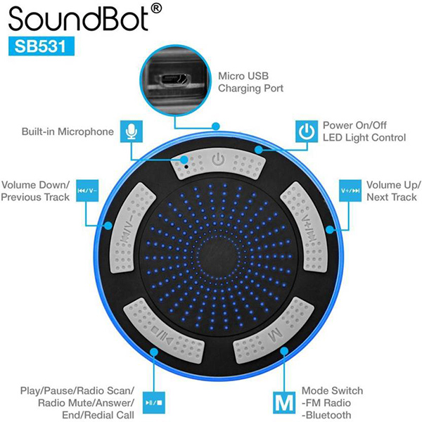08646a4061f Soundbot SB531 Bluetooth Water Resistant Shower Speaker Review | The ...