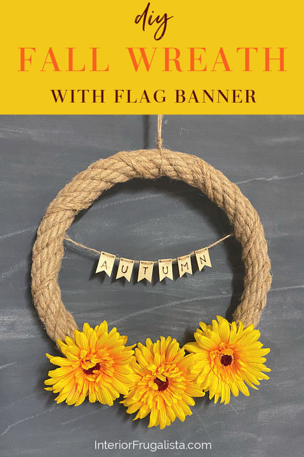 DIY Fall Rope Wreath With Mini Wooden Flag Banner
