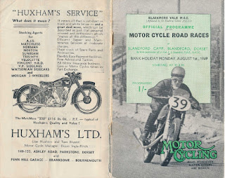 Huxhams advert from Blandford race program 1 August 1949