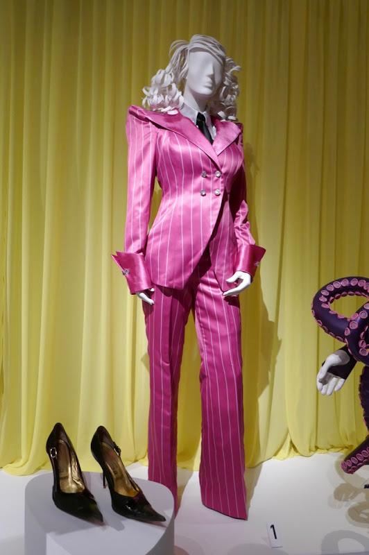 Lucy Hale Series Unfortunate Events Esmé Squalor pink pinstripe suit
