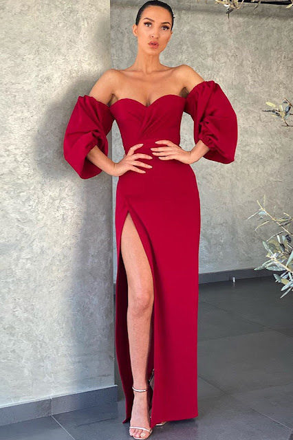 red slit party dress