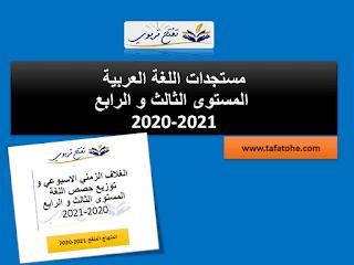 الغلاف الزمني الاسبوعي و توزيع حصص اللغة المستوى الثالث و الرابع 2020-2021