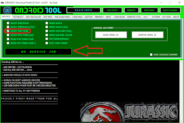 فك باسورد ونمط الهاتف و عمل روت لاي هاتف اندرويد Jurassic UniAndroid