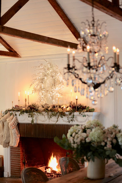 Natural Elegant Christmas Living Room Mantel