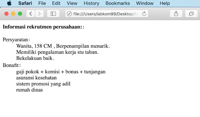 Perintah Dasar Element dl Pada HTML