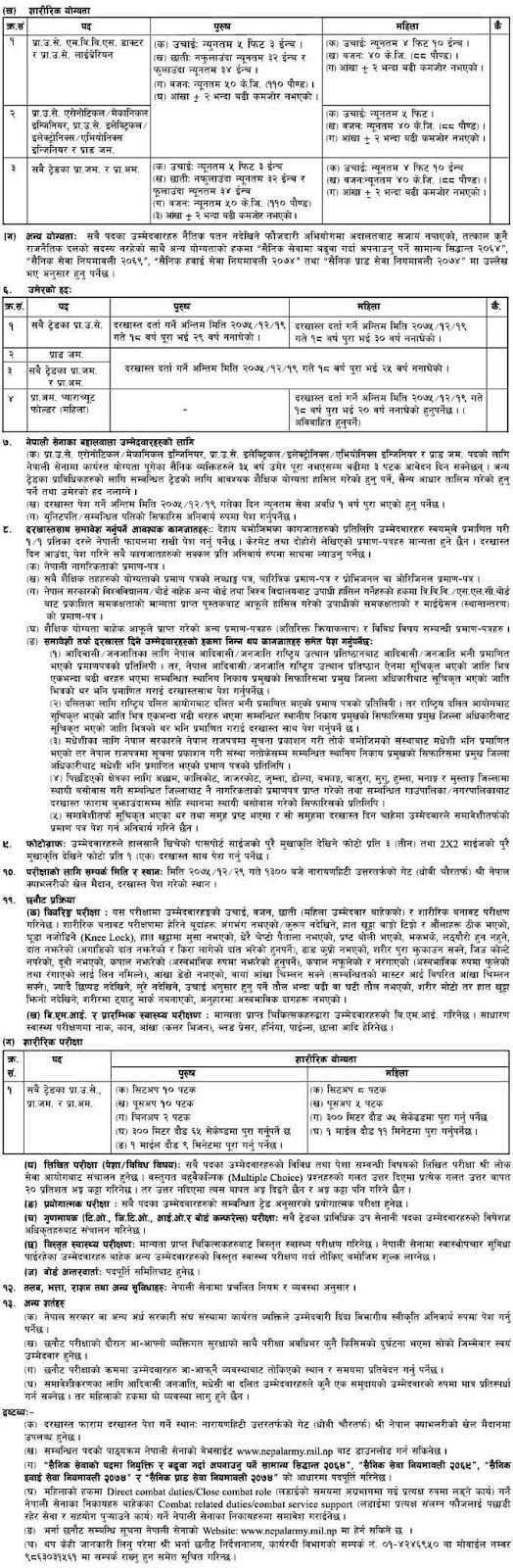 Nepal Army Vacancy Notice