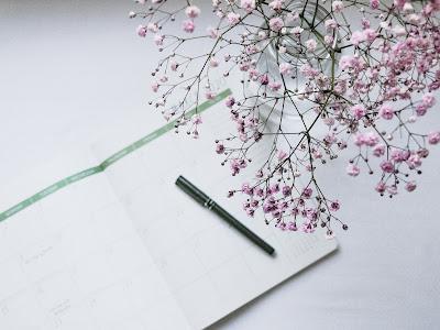 Planificador, bolígrafo y paniculata rosa