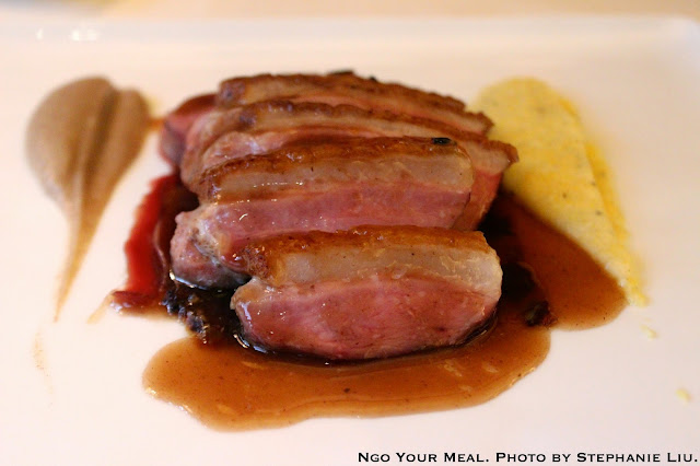 Organic Long Island Duck: Organic Golden Nevada Dates, Hudson Valley Hand Milled Polenta at Bouley
