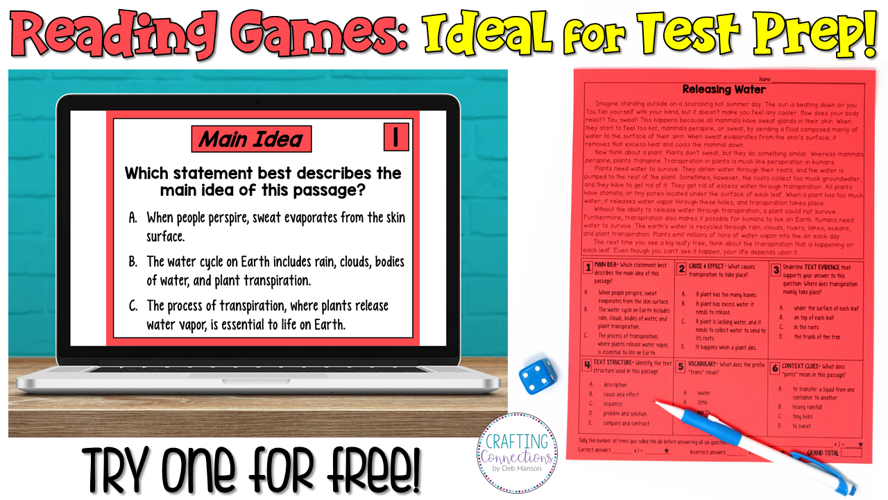 Make reading test prep meaningful and fun by using reading games! After reading a passage, students will answer 6 multiple choice questions and try to earn the lowest number of points. This blog post contains a FREE nonfiction reading passage!