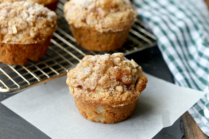 Vanilla Pear Muffins made with chopped pear