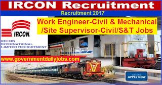 IRCON Recruitment 2017 for 146 Work Engineer & Site Supervisor Vacancy