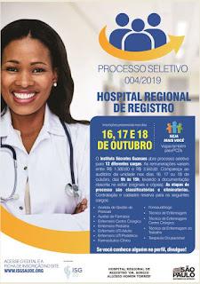 Hospital Regional de Registro-SP abre processo seletivo para 12 cargos