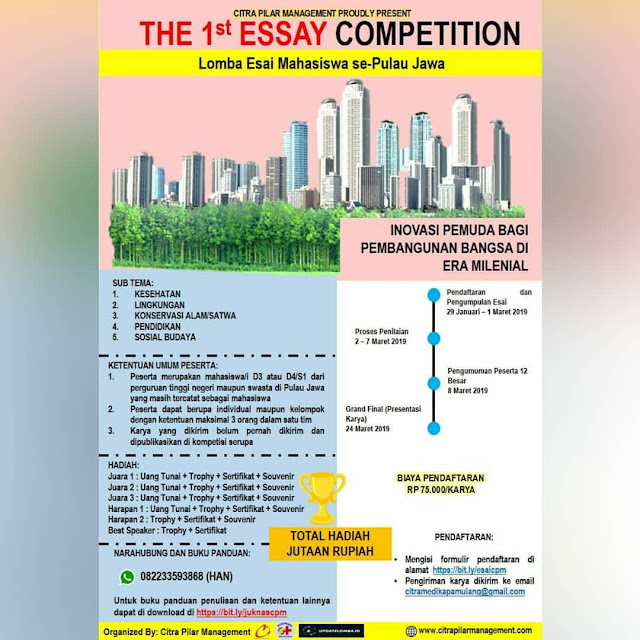 Lomba The 1st Essay Competition 2019 Mahasiswa Se-Jawa