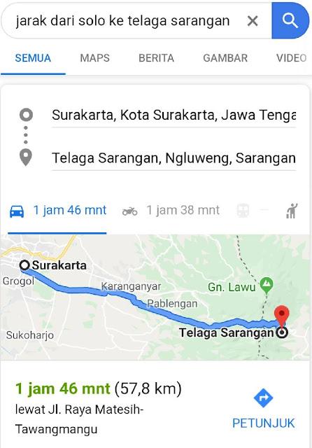 jarak Surakarta ke Telaga Sarangan