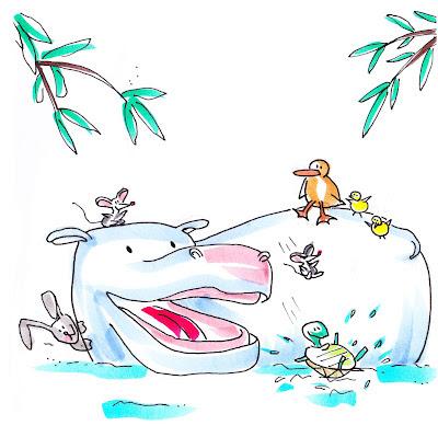 Cuento de los animales de la selva y su protagonista el hipopótamo