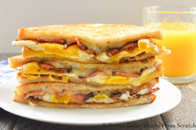 Bacon and Egg Grilled Cheese Breakfast Sandwich are a great grab and go breakfast recipe from Serena Bakes Simply From Scratch.