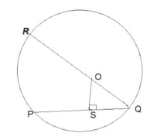 (2) O केंद्रीय व्यास की लम्बाई 26 सेंटीमीटर है। O बिंदु से जीवा PQ की दूरी 5 सेंटीमीटर है। PQ जीवा की लम्बाई ज्ञात करके देखें।