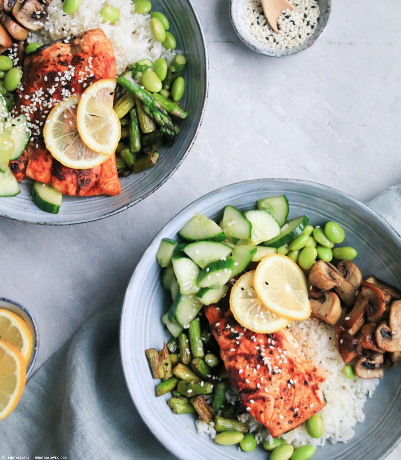 Healthy Salmon Bowl | whatinaloves.com