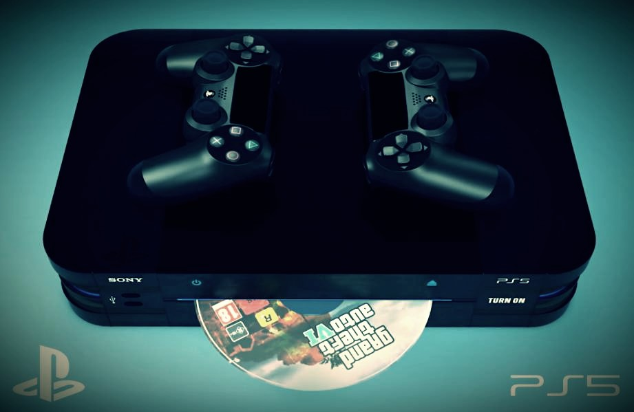 PlayStation 5 in a new design, DualShock 5 with a screen and a disc with GTA VI
