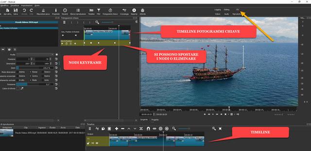 visualizzazione fotogrammi chiave in fx di shotcut