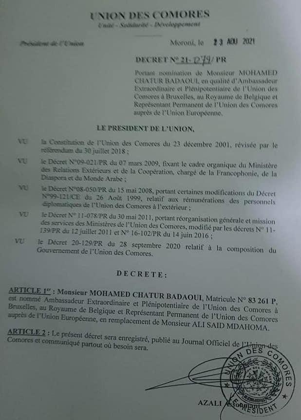 Mohamed Chatur Badaoui nommé Ambassadeur des Comores à Bruxelles