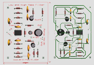 High pass filter layout pcb using ic4558