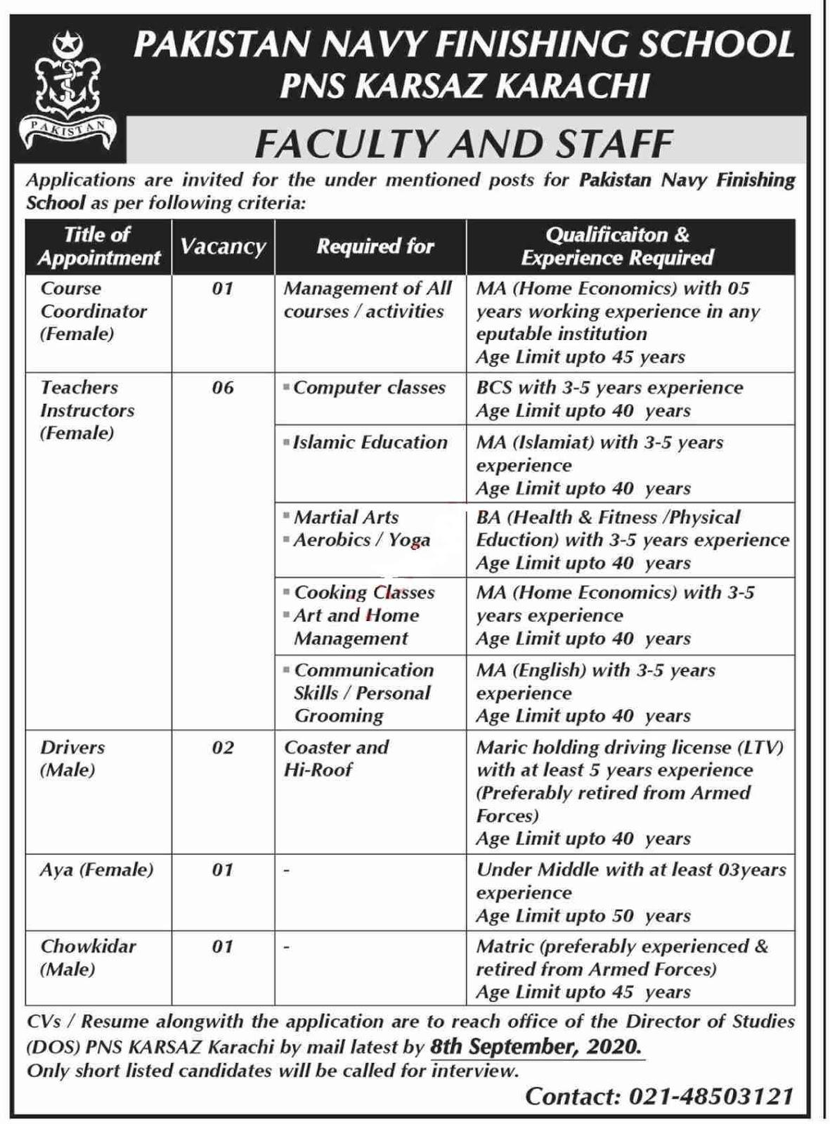 Latest Pakistan Navy Finishing School Education Posts Karachi 2020