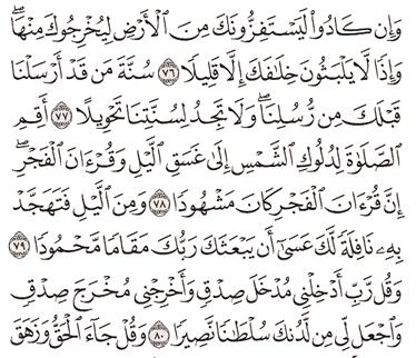 Tafsir Surat Al-Israa Ayat 76, 77, 78, 79, 80